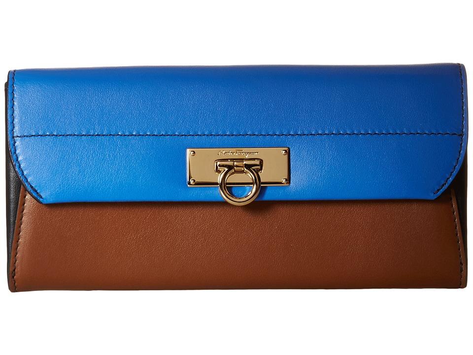 Salvatore Ferragamo - 22C272 (Bleu Indien/Ecorce/Nero) Wallet