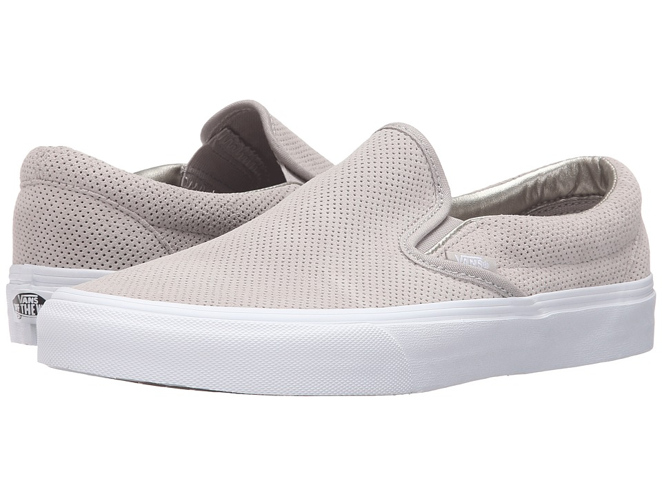 Vans Classic Slip-On ((Perf Suede) Silver Cloud/True White) Skate Shoes