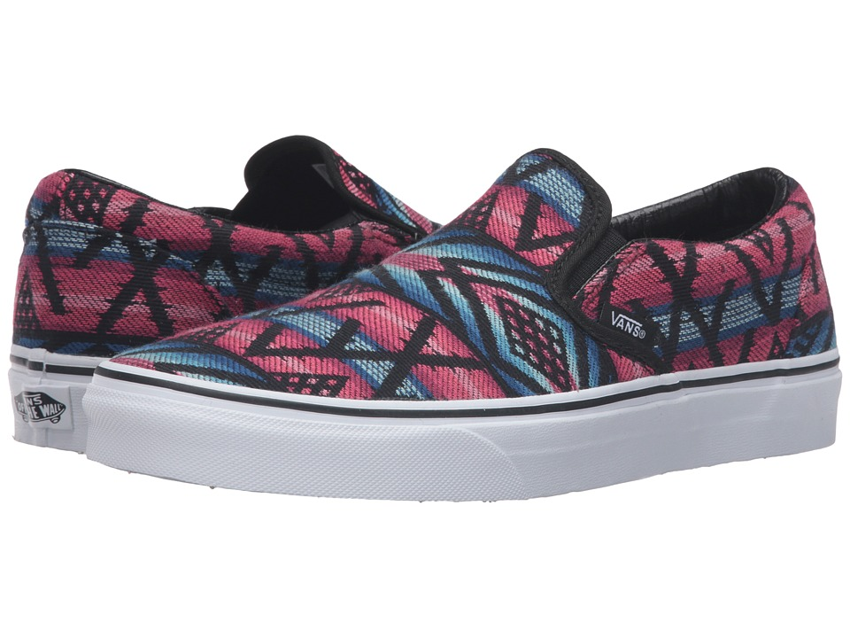 Vans Classic Slip-On ((Moroccan Geo) Black/True White) Skate Shoes