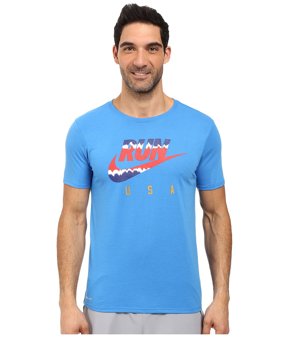 Nike - International Running T-Shirt (Light Photo Blue/Reflective) Men