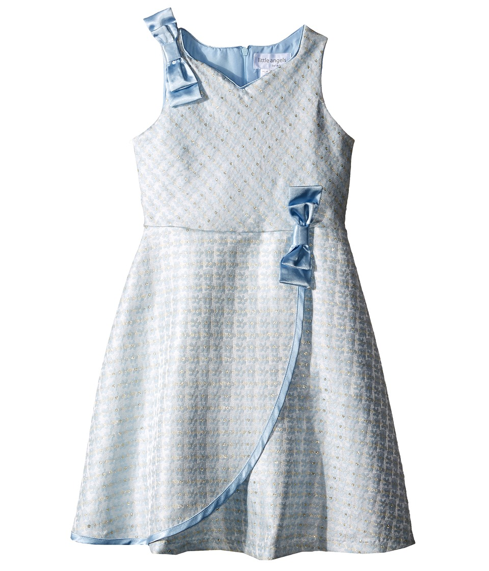 Us Angels Brocade Sleeveless Dress w/ Satin Ribbon Trim Toddler/Little Kids Blue Girls Dress
