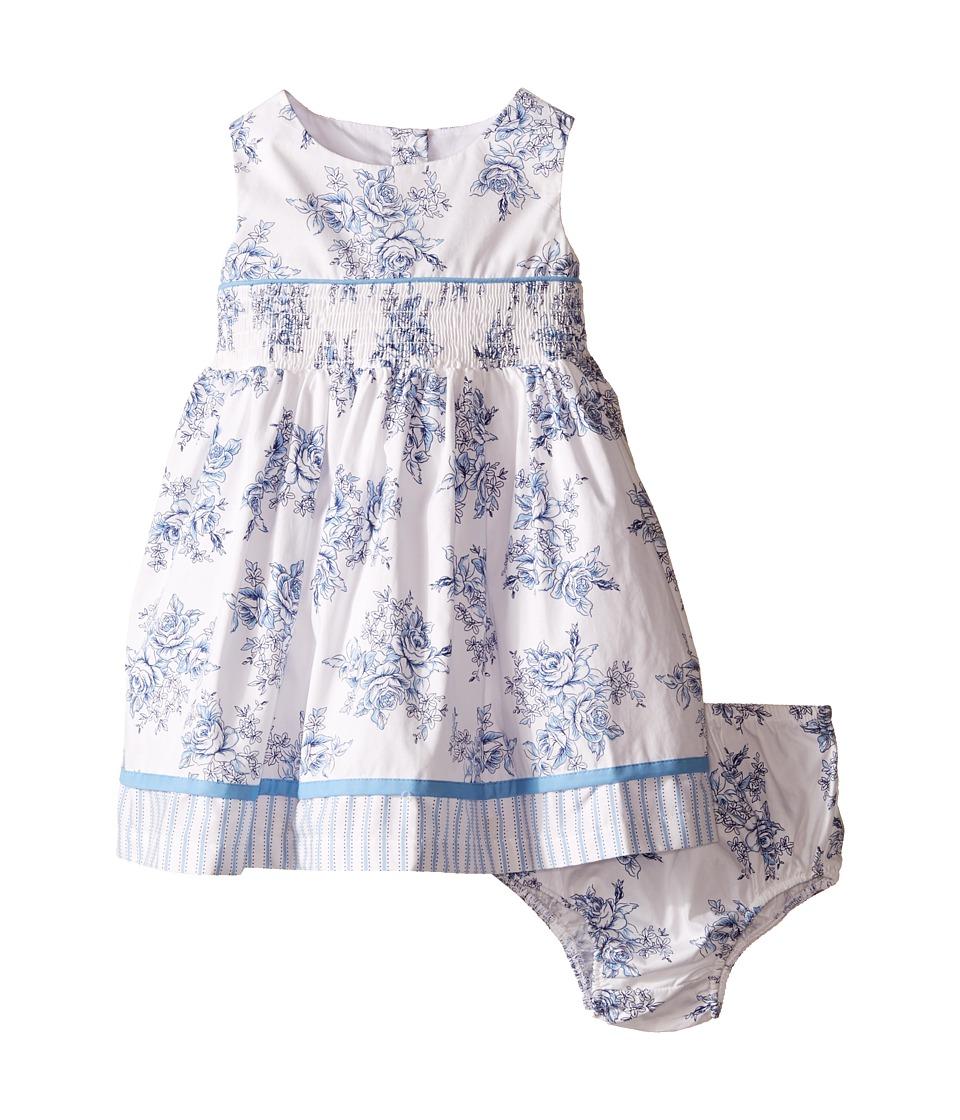 Us Angels Cotton Poplin Tank Dress w/ Smock Waist Full Skirt Infant White Girls Dress