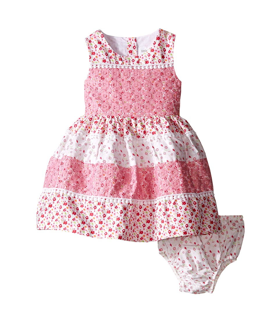 Us Angels Cotton Poplin Lace Sleeveless Sundress w/ Full Skirt Infant Pink Girls Dress