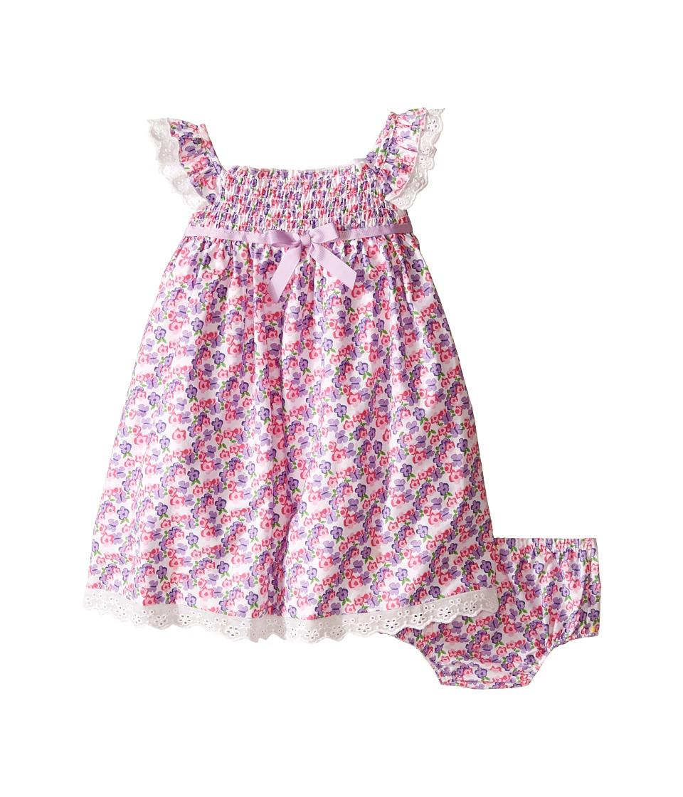 Us Angels Cotton Poplin Eyelet Empire Smock Bodice Dress Infant Lavender Girls Dress
