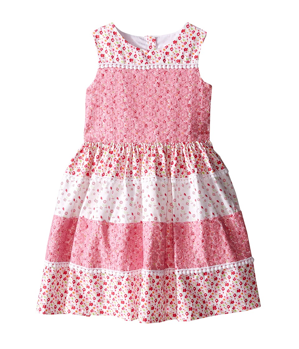 Us Angels Cotton Poplin Lace Sleeveless Sundress w/ Full Skirt Toddler/Little Kids Pink Girls Dress