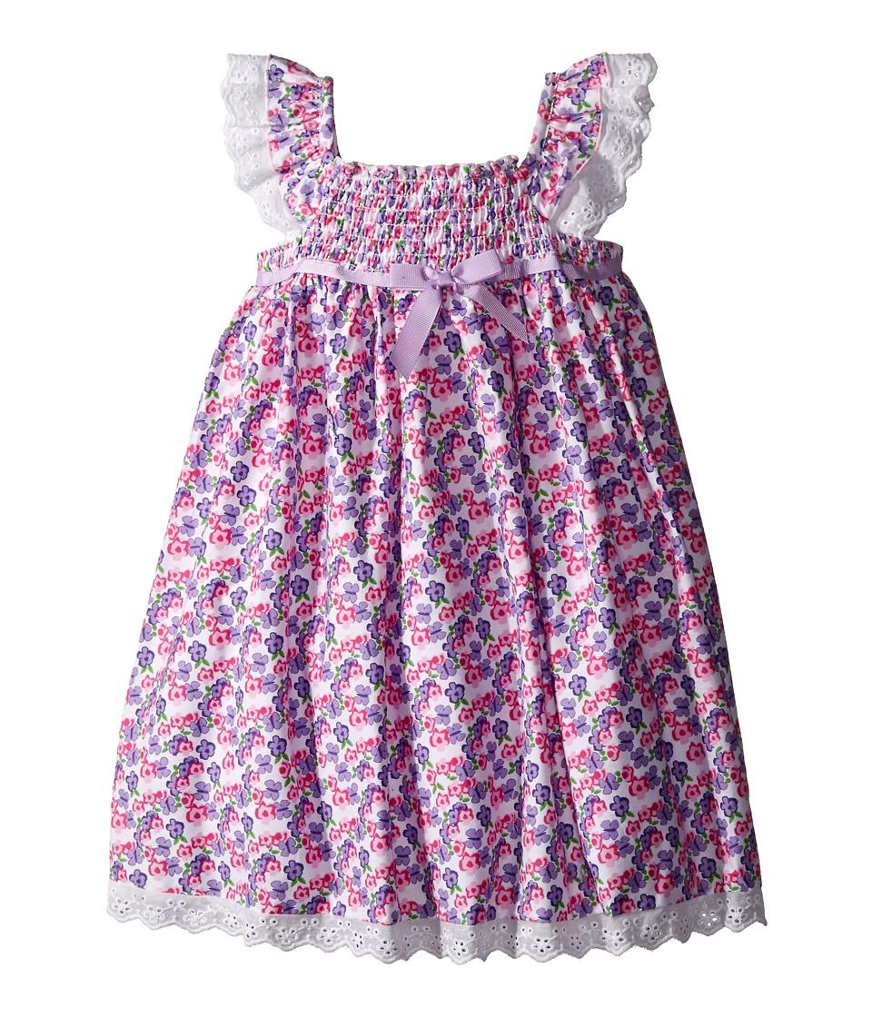Us Angels Cotton Poplin Eyelet Empire Smock Bodice Dress Toddler/Little Kids Lavender Girls Dress