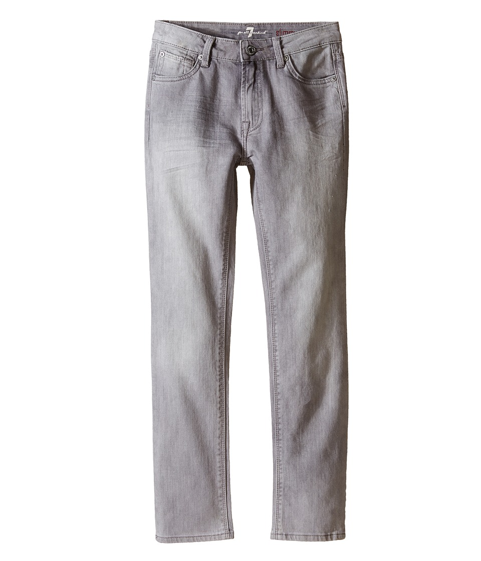 7 For All Mankind Kids The Slimmy Slim Straight Five Pocket Stretch Denim Jeans in Cloudy Big Kids Cloudy Boys Jeans