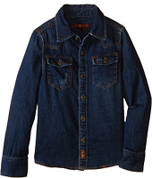 7 For All Mankind Kids - Long Sleeve Distressed Denim Button Down Shirt in Dark Indigo (Little Kids/Big Kids)