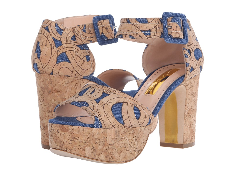 Rupert Sanderson Logie Denim Fabric Womens Shoes