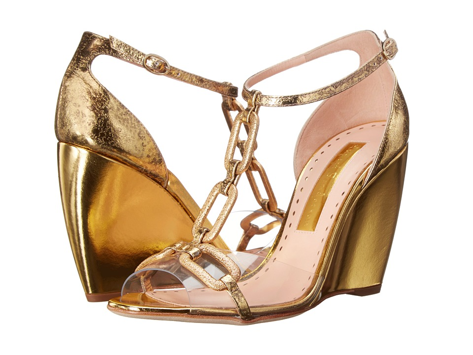 Rupert Sanderson Chance PVC/Gold Chain Womens Shoes