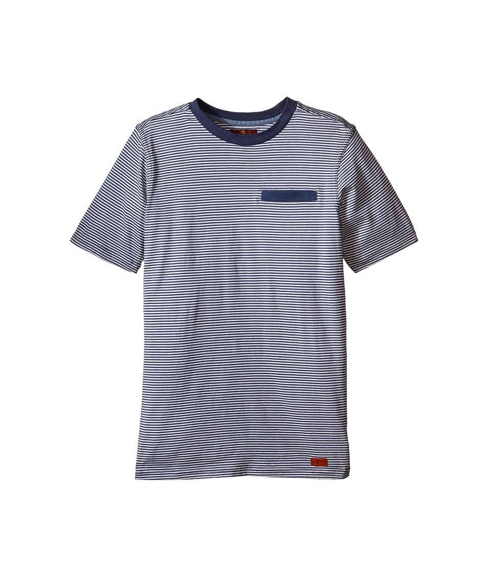 7 For All Mankind Kids Short Sleeve Crew Neck Jersey Knit Microstripe T Shirt Big Kids White Stripe Boys Short Sleeve Pullover
