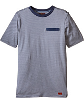 7 For All Mankind Kids - Short Sleeve Crew Neck Jersey Knit Microstripe T-Shirt (Big Kids)