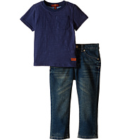 7 For All Mankind Kids - Standard Jeans and Short Sleeve V-Neck Slub Jersey Pocket T-Shirt (Toddler)
