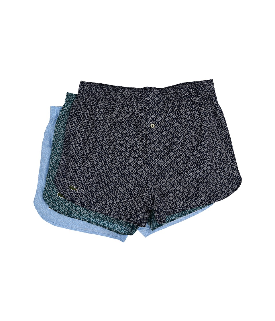 Lacoste Authentics Woven Boxer 3 Pack Navy/Bluegrass/Light Blue Mens Underwear