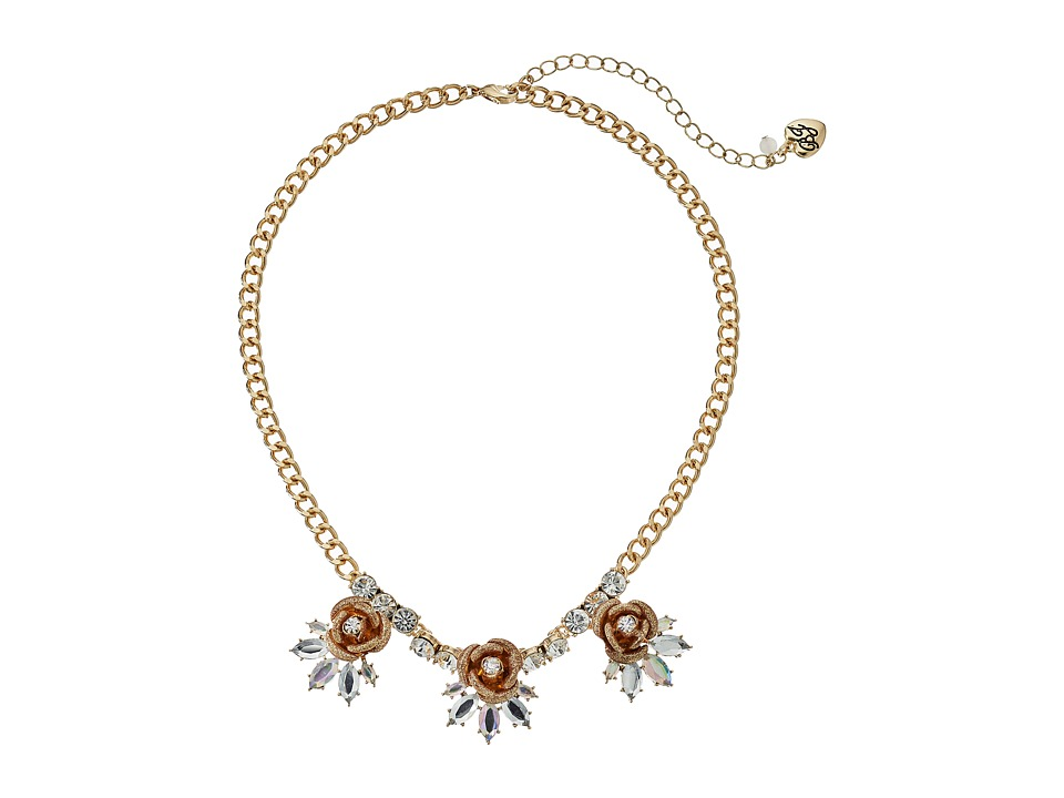 Betsey Johnson Luminous Betsey Glitter Rose Necklace Gold Necklace