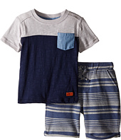 7 For All Mankind Kids - Four-Pocket French Terry Athletic Shorts and Short Sleeve Color Block T-Shirt (Toddler)