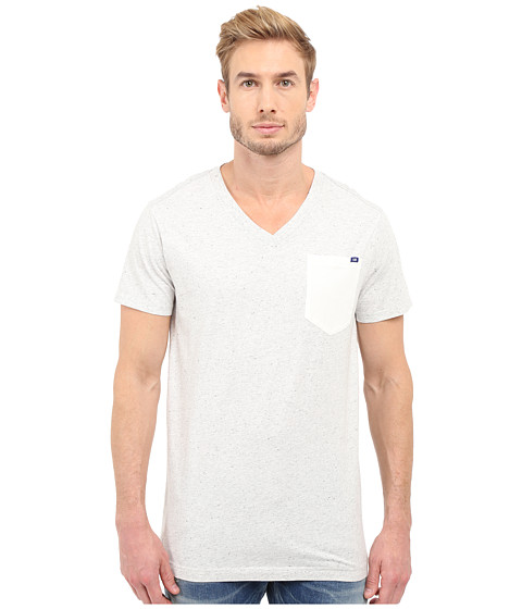 G-Star Riban Short Sleeve V-Neck Pocket Tee in Premium Compact Jersey - Milk Heather