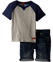 7 For All Mankind Kids - Five-Pocket Roll Cuff Bermuda Denim Shorts and Baseball T-Shirt (Toddler)