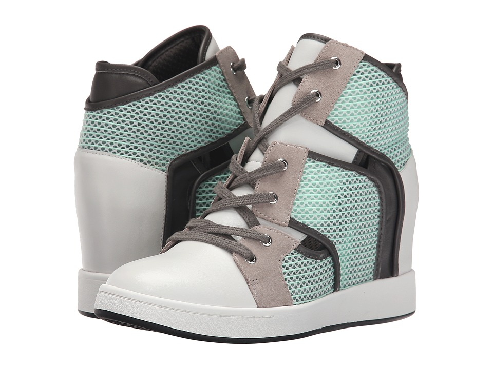 L.A.M.B. Gera White/Mint/Grey Womens Wedge Shoes
