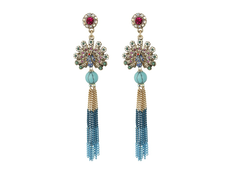 Betsey Johnson Boho Betsey Peacock Fringe Drop Earrings Turquoise Earring