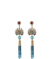 Betsey Johnson - Boho Betsey Peacock Fringe Drop Earrings