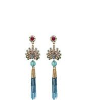 Betsey Johnson - Boho Betsey Peacock Fringe Drop Earrings