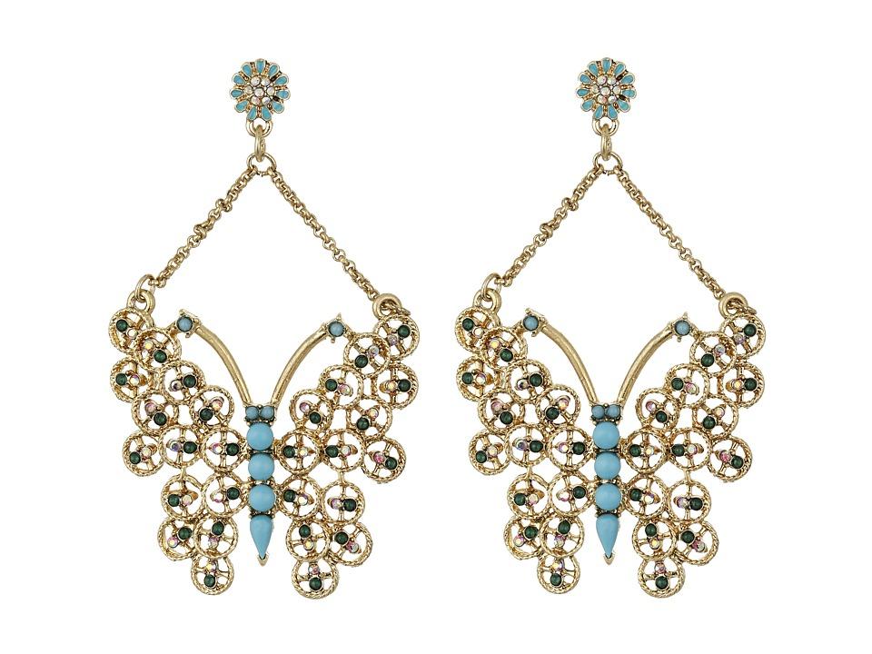 Betsey Johnson Boho Betsey Butterfly Drop Earrings Turquoise Earring