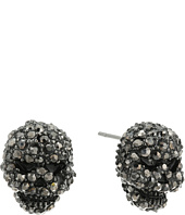 Betsey Johnson - Black Crystal Skull Stud Earrings