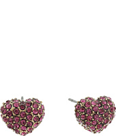 Betsey Johnson - Crystal Pink Heart Stud Earrings
