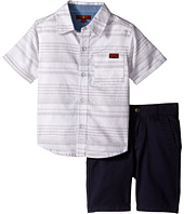7 For All Mankind Kids - Two-Pocket Classic Twill Shorts and Short Sleeve Plaid Button Down Shirt (Toddler)