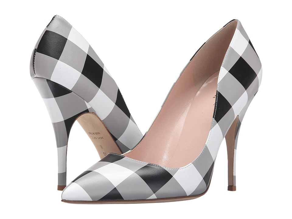 Kate Spade New York Licorice (Black/White Gingham Printed Nappa) High Heel Shoes