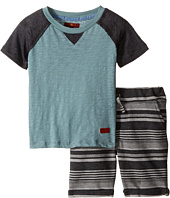 7 For All Mankind Kids - Four-Pocket Roll Cuff French Terry Athletic Shorts and Baseball T-Shirt (Toddler)