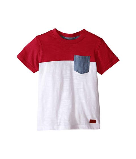 7 For All Mankind Kids Short Sleeve Crew Neck Slub Jersey Color Block Pocket T-Shirt (Big Kids)