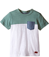 7 For All Mankind Kids - Short Sleeve Crew Neck Slub Jersey Color Block Pocket T-Shirt (Big Kids)
