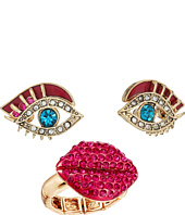 Betsey Johnson - Eye Stud Earrings and Lip Stretch Ring Set