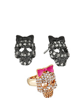 Betsey Johnson - Skull Stud Earrings and Stretch Ring Set