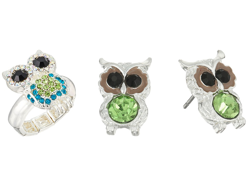 Betsey Johnson Owl Stud Earrings and Stretch Ring Set Green Jewelry Sets