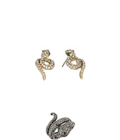 Betsey Johnson - Snake Stud Earrings and Stretch Ring Set