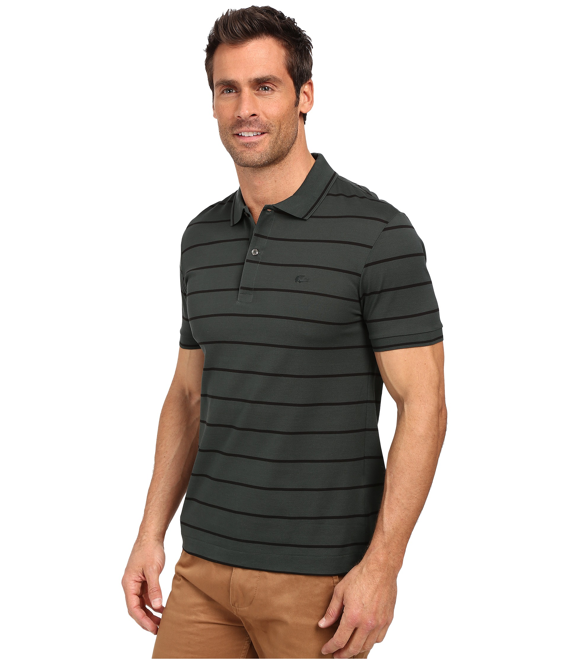 Lacoste slim fit polo in striped mercerized piqu for Lacoste stripe pique polo shirt