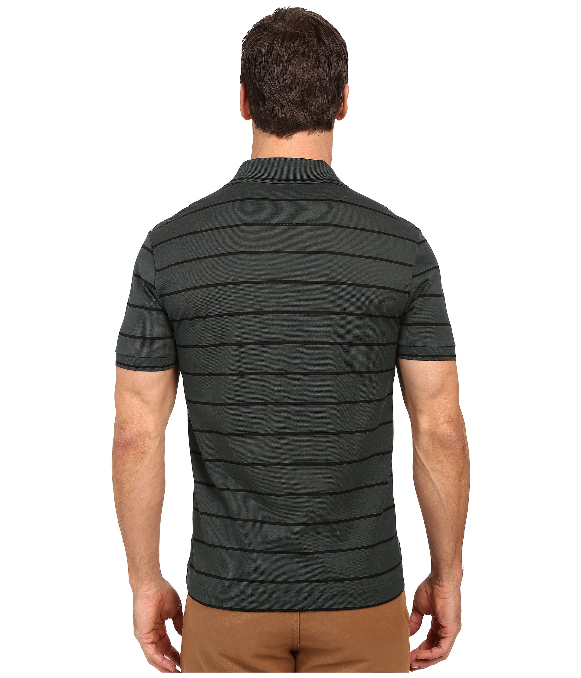 Lacoste slim fit polo in striped mercerized piqu zappos for Lacoste stripe pique polo shirt