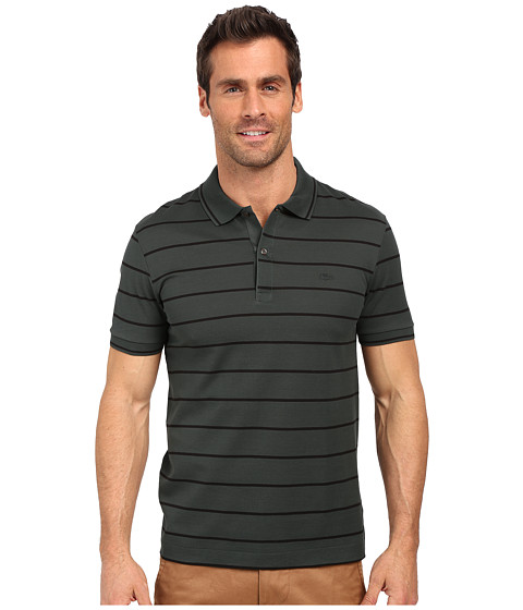 lacoste slim fit polo in striped mercerized piqu at. Black Bedroom Furniture Sets. Home Design Ideas