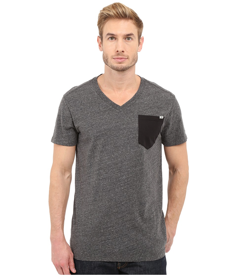 G Star Riban Short Sleeve V Neck Pocket Tee in Premium Compact Jersey Black Heather Mens Short Sleeve Pullover