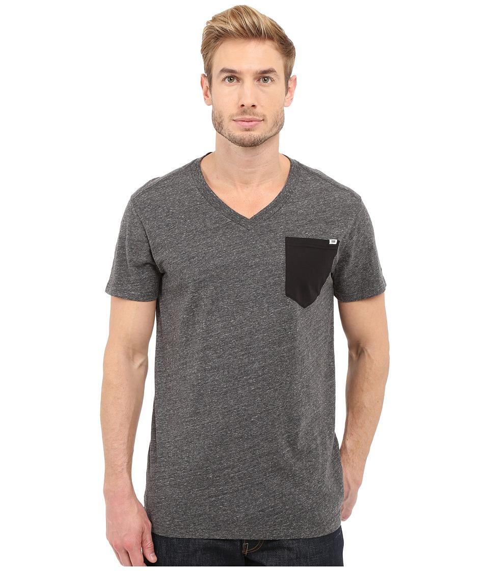 G Star Riban Short Sleeve V Neck Pocket Tee in Premium Compact Jersey Black Heather Mens Short Sleeve Pullover