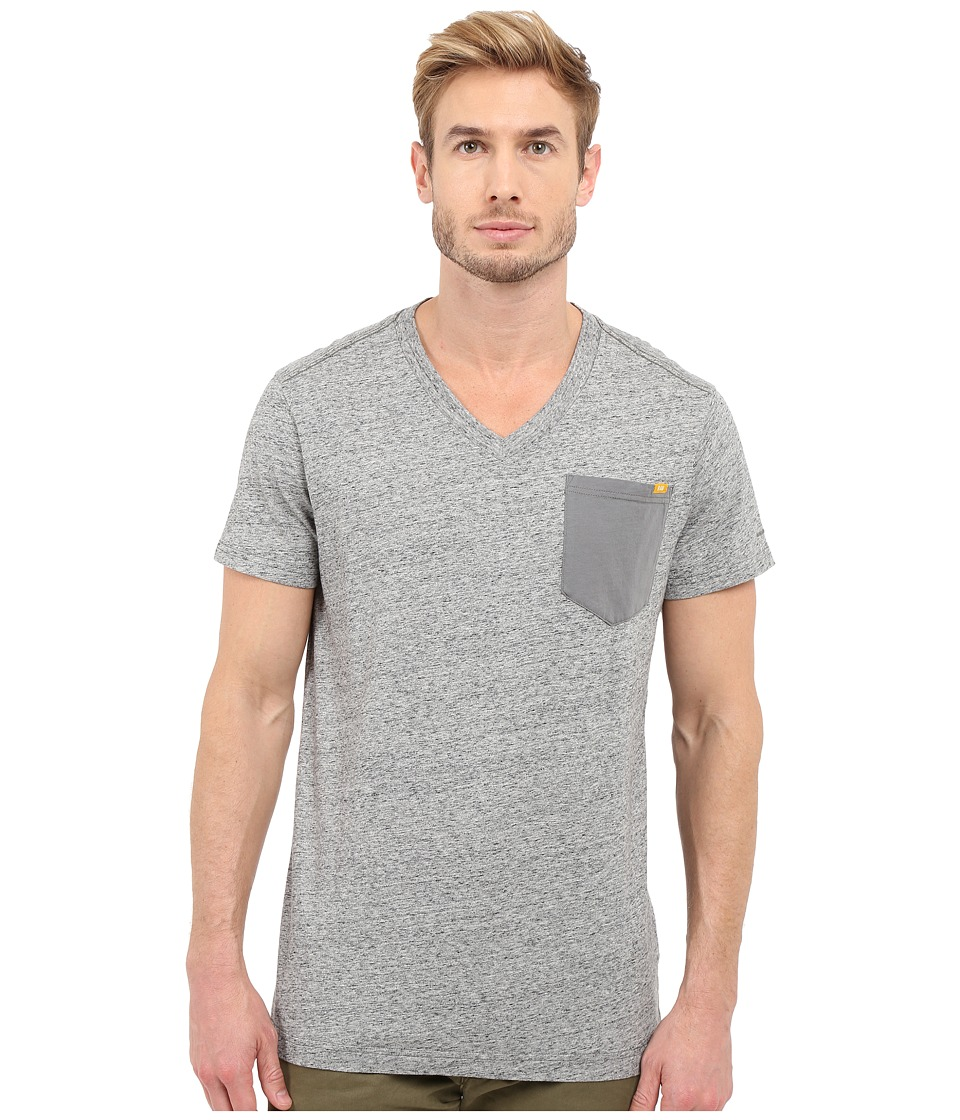 G Star Riban Short Sleeve V Neck Pocket Tee in Premium Compact Jersey Platinum Heather Mens Short Sleeve Pullover