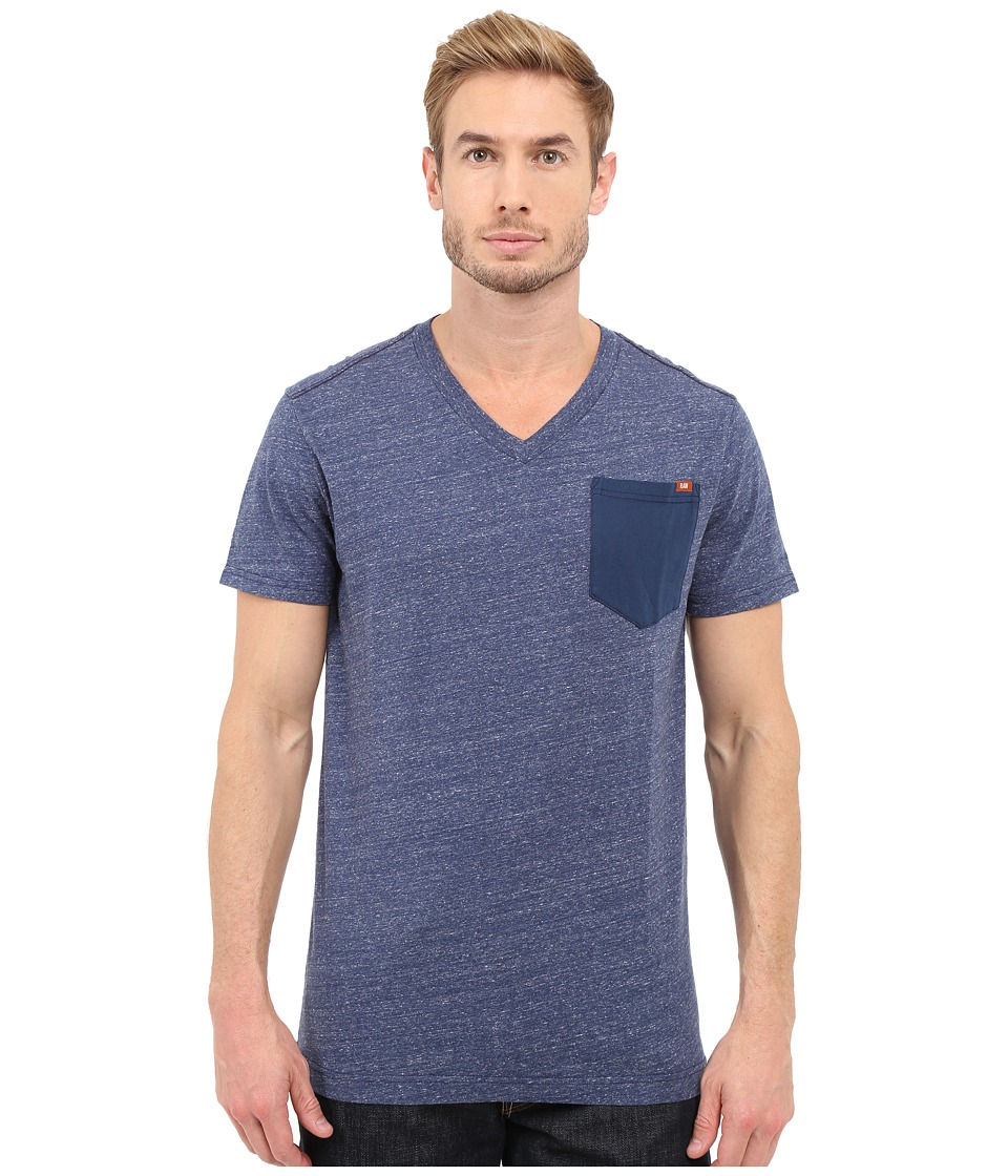 G Star Riban Short Sleeve V Neck Pocket Tee in Premium Compact Jersey Sapphire Blue Heather Mens Short Sleeve Pullover
