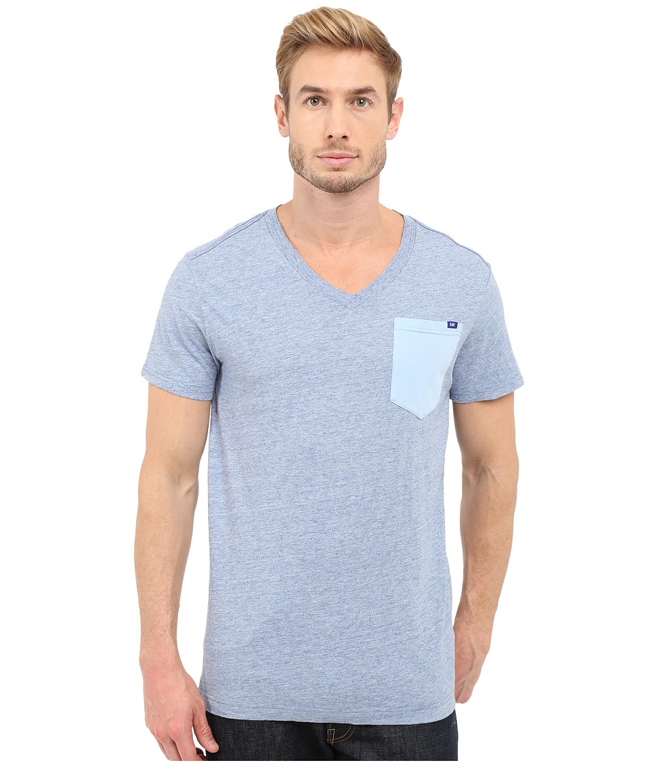 G Star Riban Short Sleeve V Neck Pocket Tee in Premium Compact Jersey Sea Heather Mens Short Sleeve Pullover