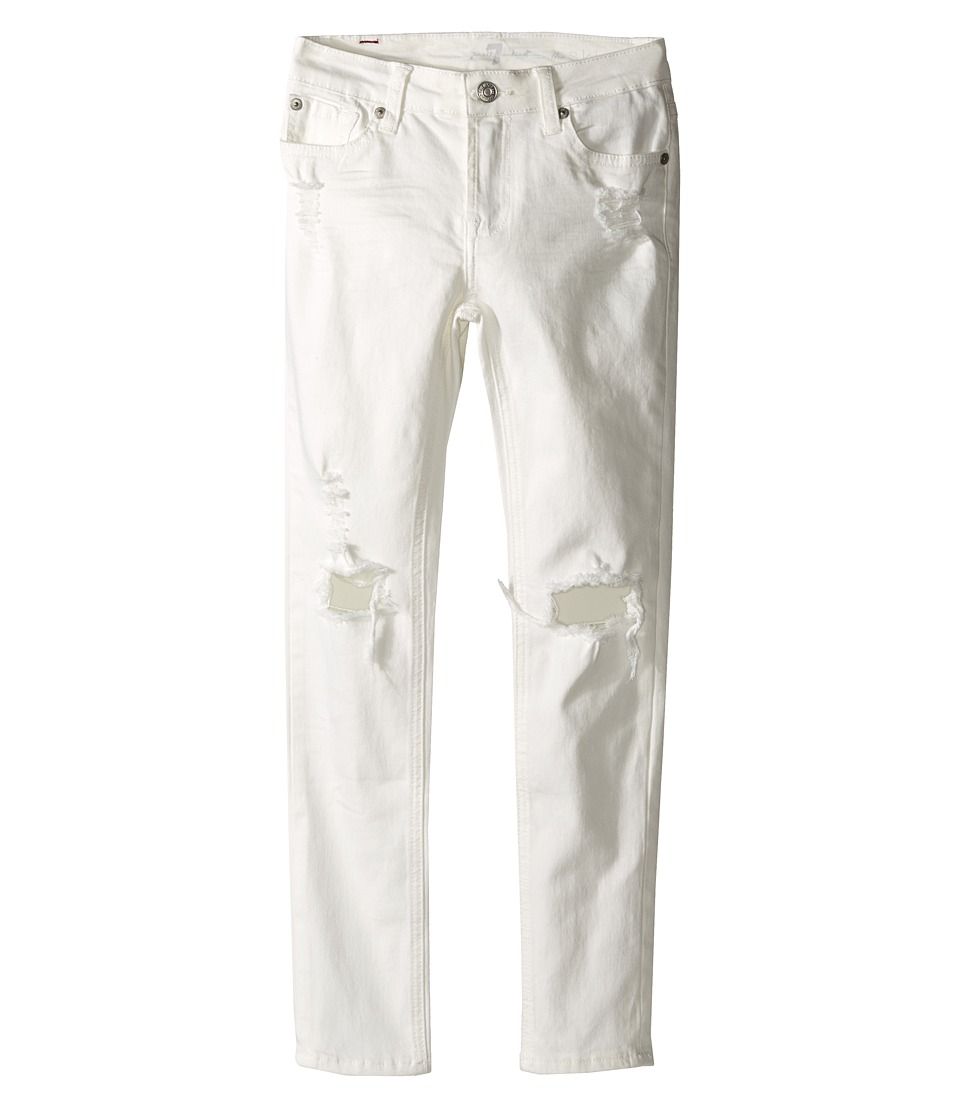 7 For All Mankind Kids The Skinny Five Pocket Distressed Denim Jeans in Ecru Big Kids Ecru Girls Jeans