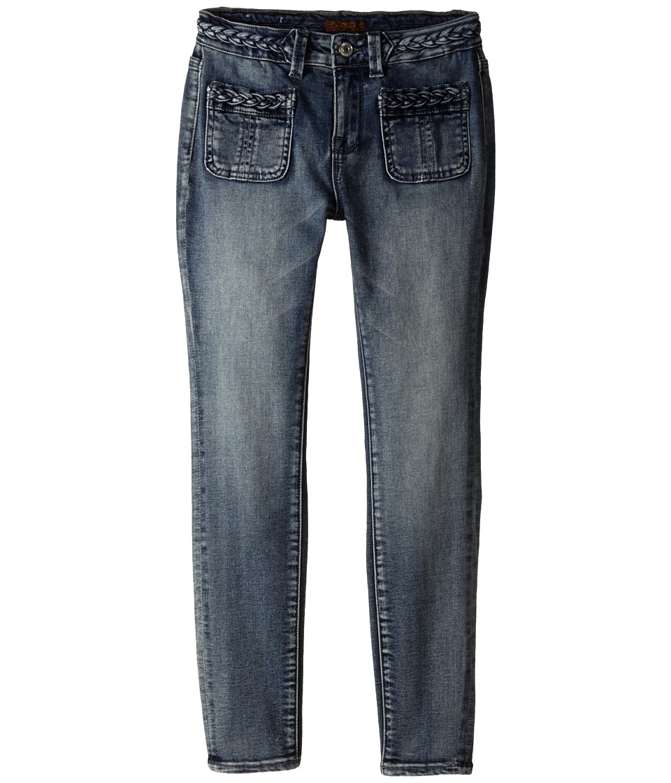 7 For All Mankind Kids The Skinny Braided Four Pocket Jeans in True Heritage Blue Big Kids True Heritage Blue Girls Jeans