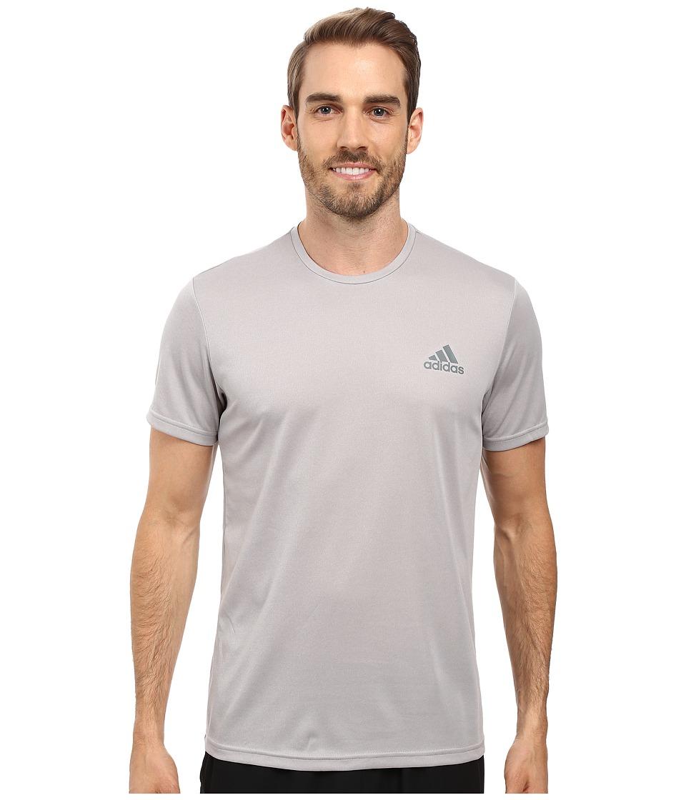 adidas Essential Tech Crew Tee (Medium Grey Heather/Vista Grey) Men