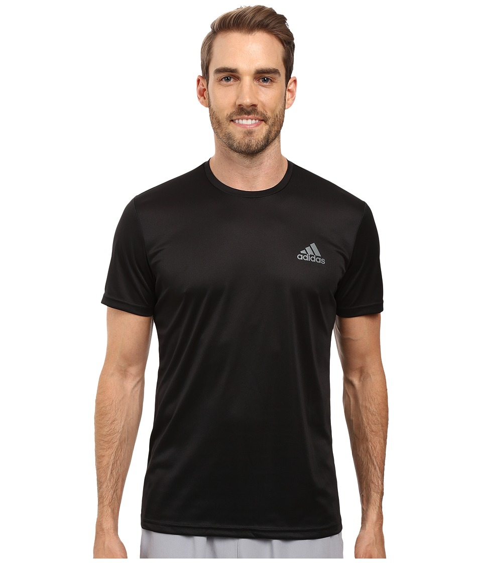 adidas Essential Tech Crew Tee (Black/Vista Grey) Men